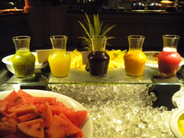 Every day there are beautiful exotic fruits and juices too!