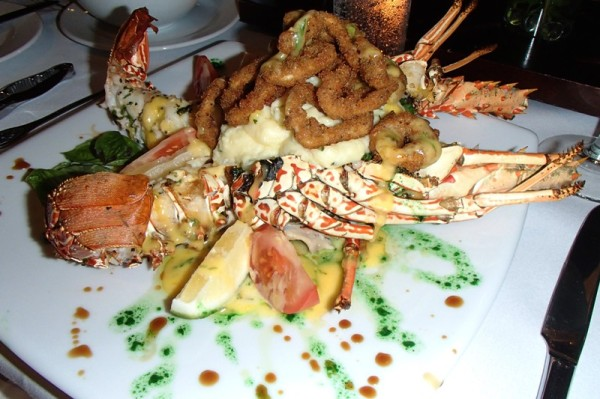 Crayfish on bok-choy with mashed potatoes and lemon-aoili battered onion rings!