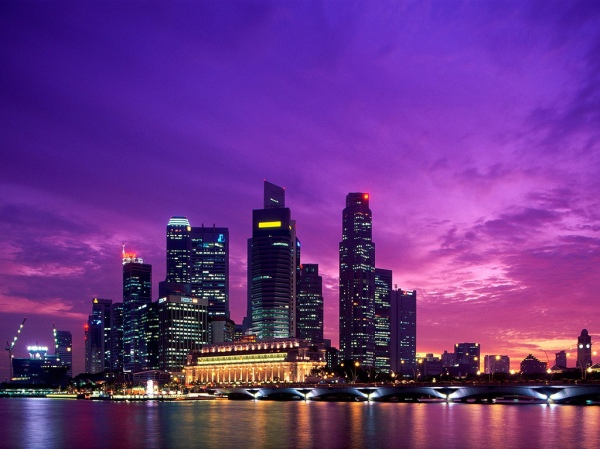 Beautiful sunset in Singapore