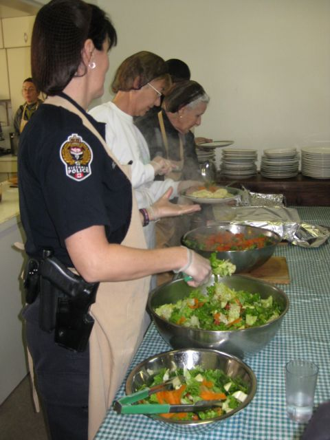 Constable Zeigler of the Victoria Police Department also volunteers at the Rainbow Kitchen.