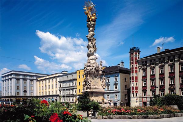 Trinity Column in Hauptmarkt, Linz, Austria