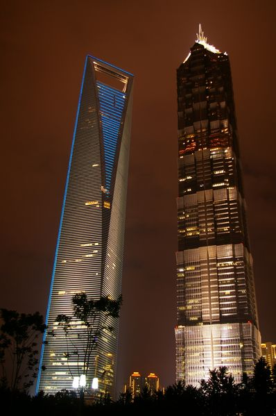 Shanghai World Financial Center (left) and Jin Mao Tower (right)