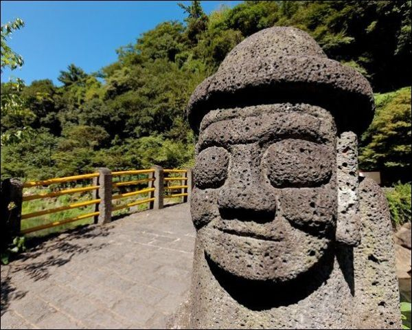 One of many Stone Grandfather statues in Jeju, South Korea