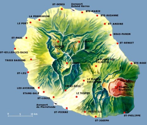 Detailed map of La Reunion